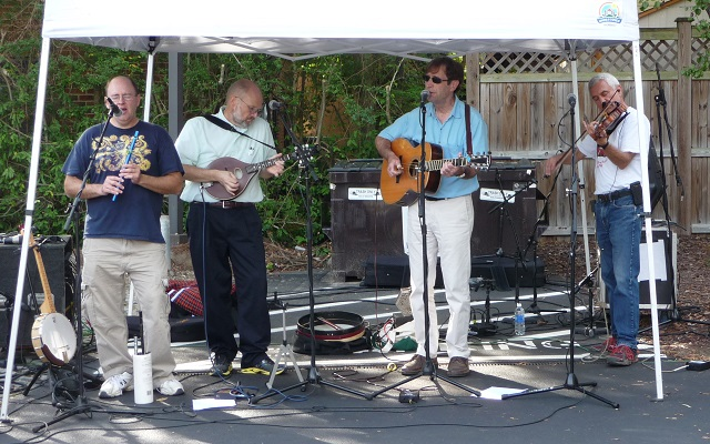 Nathan, Virgil, Richard, and Jeff playing at the Carrboro Music Fest